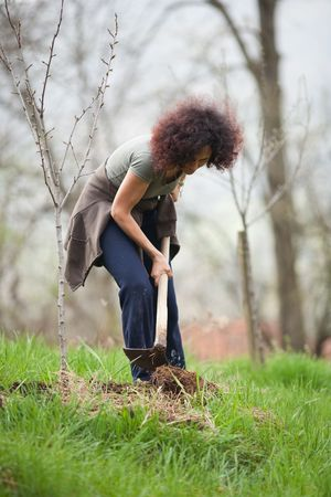 Young redhead lady working with a hoe in the countryside photo