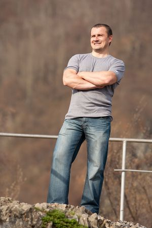 Full length portrait of a young caucasian man outdoors Stock Photo - 6792952