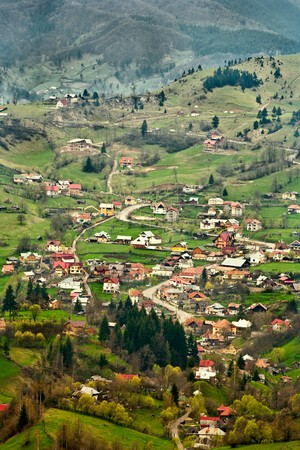 Beautiful landscape with village houses and mountains Stock Photo - 6863137