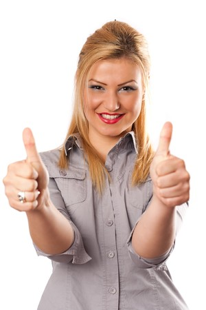 Attractive busineswoman with two thumbs up, isolated on white Stock Photo - 7056695