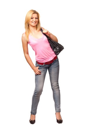 Full length portrait of a beautiful blonde with purse isolated on white photo