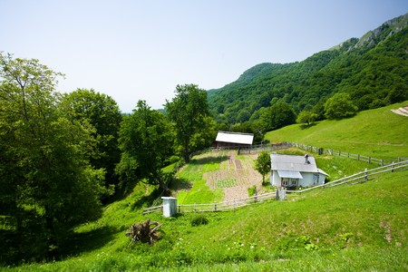 Landscape with village houses on mountains Stock Photo - 7252899