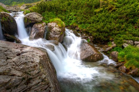 Beautiful landscape with a waterfall and vegetation photo