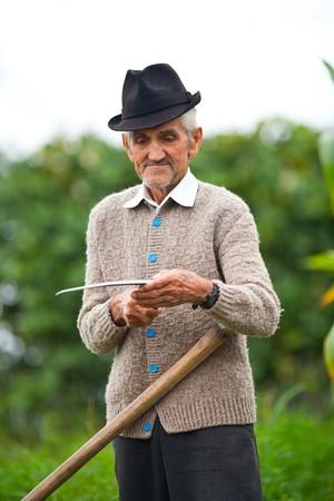 Senior farmer using scythe to mow the lawn traditionally photo