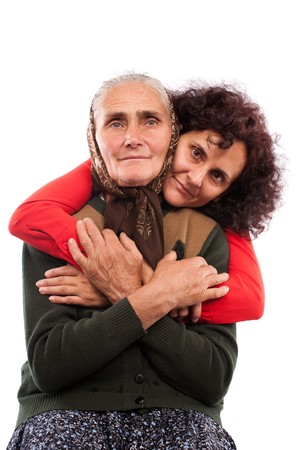Portrait of an older mother and daughter in studio Stock Photo - 7891077