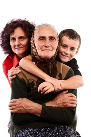 Grandmother with daughter and grandson isolated on white background photo