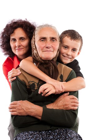 Grandmother with daughter and grandson isolated on white background Stock Photo - 7891072