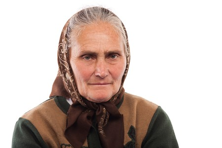 Close up portrait of an old woman isolated on white background Stock Photo - 7891057