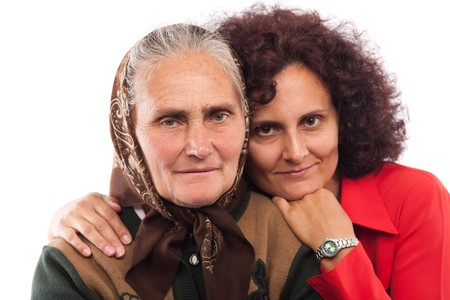 Portrait of an older mother and daughter in studio Stock Photo - 7891069