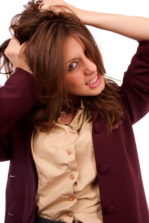 Portrait of a desperate young businesswoman pulling her hair Stock Photo - 7915503