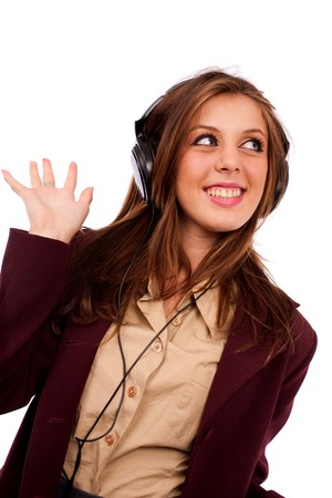 Portrait of a happy beautiful young businesswoman with headphones photo