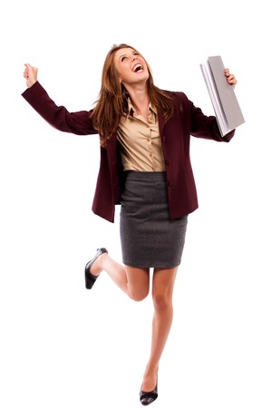 cheer full: Cheerful happy young businesswoman isolated on white background