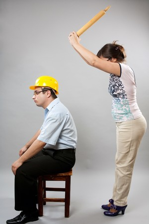 misunderstanding: Domestic fight between husband and wife, studio shot Stock Photo