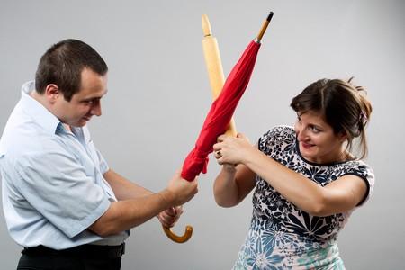 husband wife: Domestic fight between husband and wife, studio shot Stock Photo