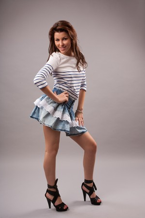 Full length portrait of a beautiful young lady photo