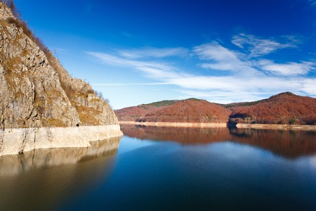 Landscape with Vidraru dam Lake in Fagaras mountains in Romania photo