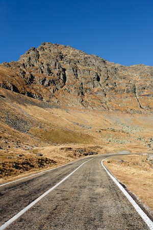 Landscape with Transfagarasan, a famous road in Romania, crossing the mountains photo