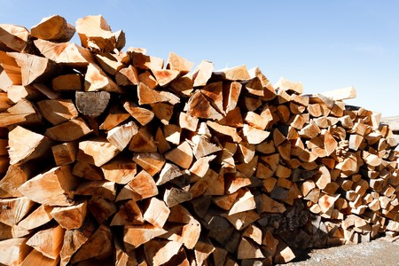 Stack of beech firewood under clear blue sky photo