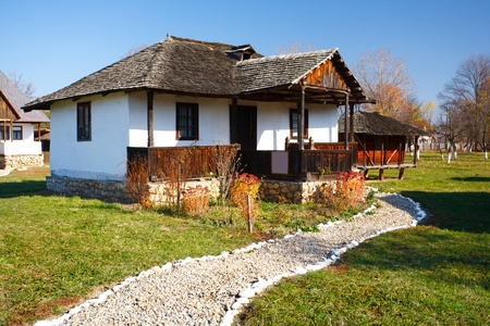 shanty: Traditional Romanian house - part of a series with old countryside architecture in Romania Stock Photo