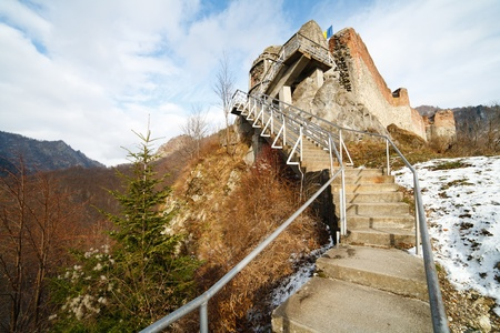 Landscape with Dracula's fortress at Poienari, Romania Stock Photo - 8452080