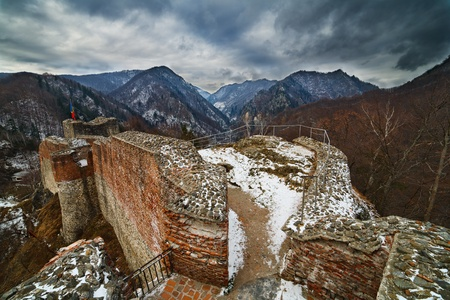 Landscape with Draculas fortress at Poienari, Romania Stock Photo