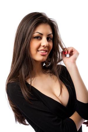femme brune: Glamour image of a beautiful hispanic woman, isolated on white background