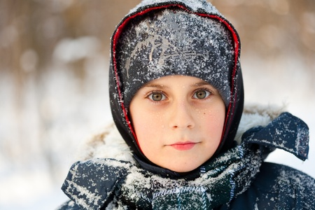 Winter closeup portrait of a cute little boy Stock Photo - 8553463