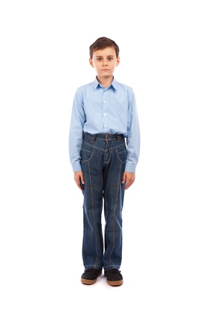 Full body portrait of a schoolboy, isolated on white background