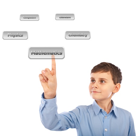 virtual school: Schoolboy choosing his courses, by scrolling a virtual list of buttons with classes Stock Photo