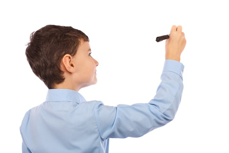 Boy writing on an imaginary board. Any text can be attached to the image to make it meaningful for buyers project photo