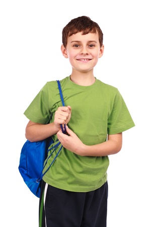 preteen boy: Portrait of a cute kid in sportswear, isolated on white background Stock Photo