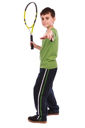 Portrait of a cute kid with tennis racquet isolated on white background Stock Photo