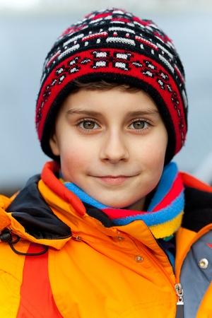 Closeup portrait of a beautiful child outdoor photo