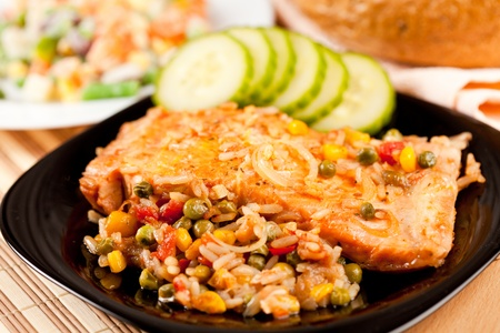 baked beans: Closeup of salmon fillets served with vegetables garnish Stock Photo