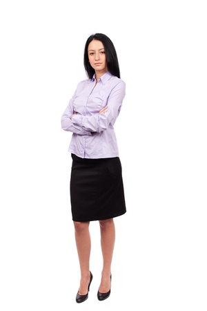 Full body shot of an attractive hispanic businesswoman isolated on white background photo