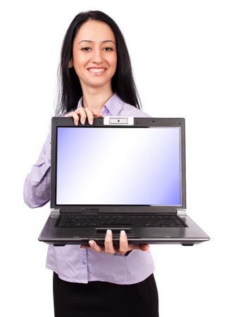 Beautiful hispanic businesswoman holding a laptop with copyspace on screen, isolated on white background photo