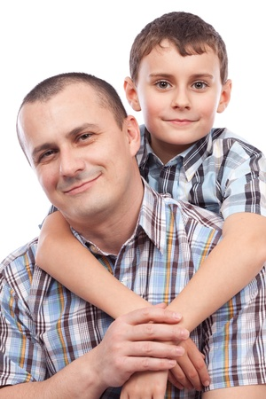 Closeup portrait of a happy father and son, isolated on white background Stock Photo