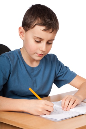 Schoolboy doing his homework at his desk Stock Photo - 9052097