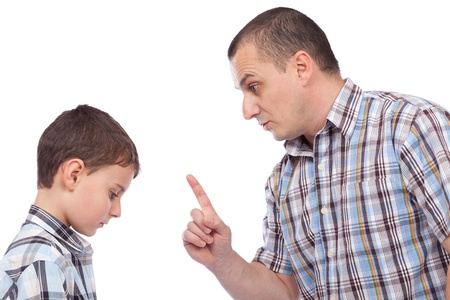 behave: Father keeping a lesson to his son about behaving