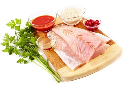 Studio closeup of fresh raw zander fillets Stock Photo - 9052102