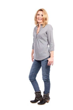 full length woman: Full length portrait of a caucasian blond woman isolated on white