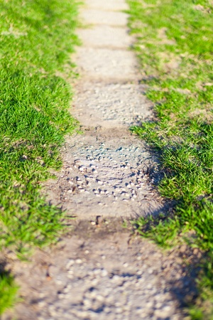 Image of a concrete paved footpath or alley in park through grass photo