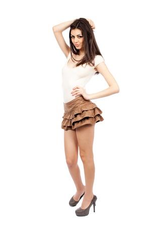 Beautiful alluring sexy young hispanic woman, full body portrait photo