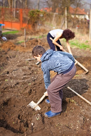 agricultural tools: Mother and son digging into the garden for planting trees