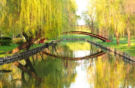 arched: Arched red bridge in a park with willows and water Stock Photo