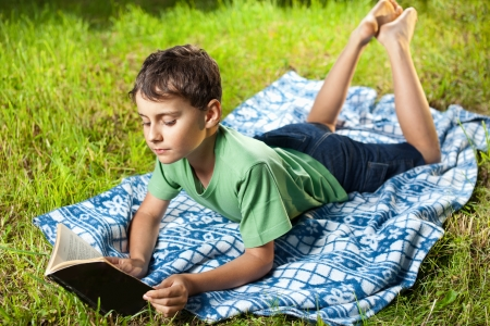 captivated: Portrait of a boy reading a book outdoor on the grass Stock Photo