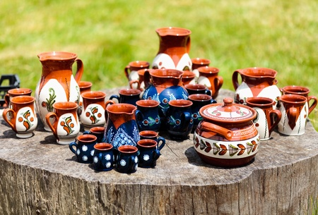 romanian: Traditional Romanian earthenware pottery at Horezu ceramic pottery fair in Romania. See the whole series