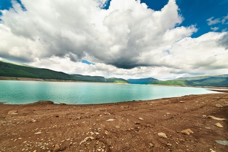 Landscape from Vidra Lake in Romanian Carpathians mountains in a summer day photo