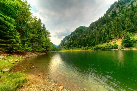 quiet scenery: Landscape with Petrimanu Lake in Romanian mountains