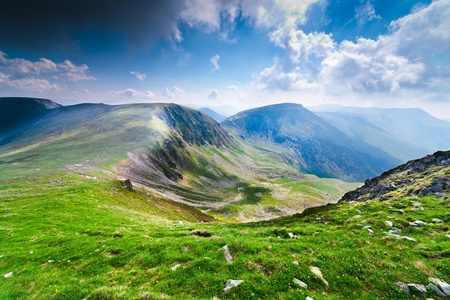 Landscape with Iezer and Urdele peaks of Parang mountains in Romania, in summer Stock Photo